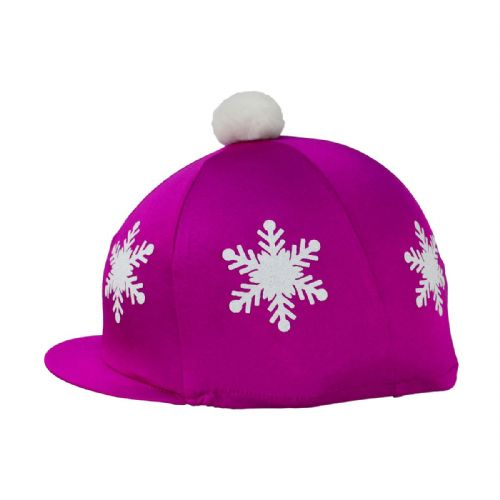 HyFASHION Snowflake Hat Cover with Pom Pom in Dark Cerise